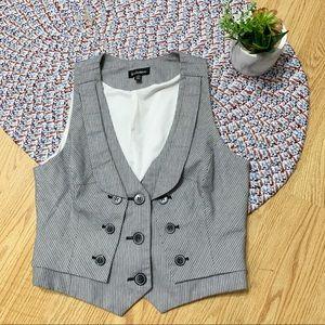 Le château vintage style Button striped vest Sz S